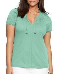 Lauren by Ralph Lauren | Green Plus Embroidered Cotton Top | Lyst