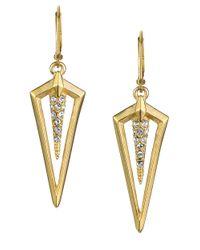 Sam Edelman - Metallic Crystallized Open Triangle Pendant Drop Earrings - Lyst