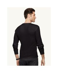 Ralph Lauren Black Label - Black Cotton-blend Henley Shirt for Men - Lyst
