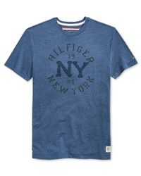 Tommy Hilfiger - Blue Big And Tall Men's Denim Curve Graphic-print T-shirt for Men - Lyst
