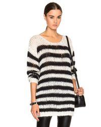 Saint Laurent - Black Oversize Striped Sweater - Lyst