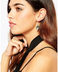 ASOS - Metallic Geo Stone Drop Earrings - Lyst