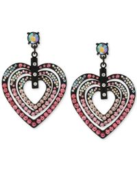 Betsey Johnson | Pink Black-Tone Heart Orbital Drop Earrings | Lyst