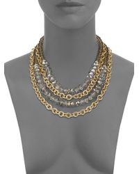 Saks Fifth Avenue | Metallic Beaded & Chain Multi Strand Necklace | Lyst