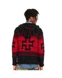 Denim & Supply Ralph Lauren - Red Patterned Hooded Sweater for Men - Lyst