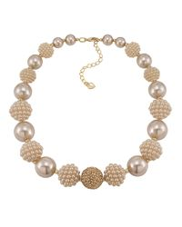 Carolee - White Colored Pearl Stone Necklace - Lyst
