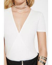 Forever 21 | White Ribbed Surplice Bodysuit | Lyst