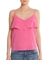 Joie | Pink Abelia Ruffled Silk Tank Top | Lyst