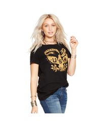 Denim & Supply Ralph Lauren - Black Draped Cotton Graphic Tee - Lyst