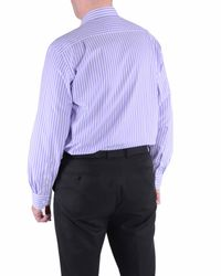 Double Two | Purple Stripe Classic Fit Classic Collar Formal Shirt for Men | Lyst