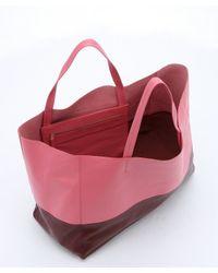 Céline - Brown Pink And Burgundy Lambskin Color Block Horizontal Tote - Lyst