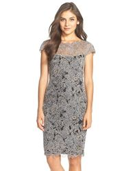 Tadashi Shoji | Gray Embroidered Mesh Sheath Dress | Lyst