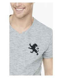 Express - Black Large Lion Slub Stripe V-neck Tee for Men - Lyst