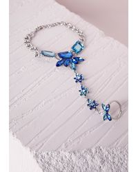 Missguided - Blue Floral Detail Hand Chain Silver - Lyst
