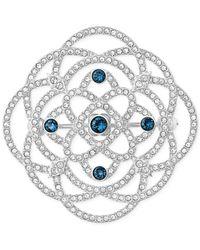 Swarovski | Metallic Silver-tone Blue Crystal Brooch | Lyst