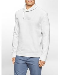Calvin Klein - White Label Classic Fit Quilted Shawl Neck Fleece Sweatshirt for Men - Lyst