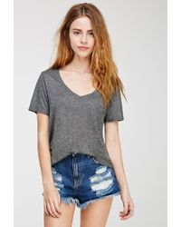 Forever 21 | Gray V-neck Pocket Tee | Lyst