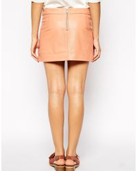 Ganni - Pink Mini Skirt In Leather - Lyst