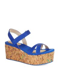 DKNY | Blue Franca Cork Wedges | Lyst