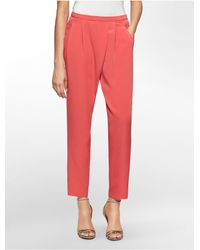 Calvin Klein - Red White Label Solid Pleated Side Zip Soft Pants - Lyst