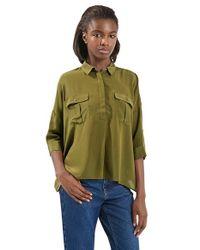 TOPSHOP - Green Military Silk Shirt - Lyst
