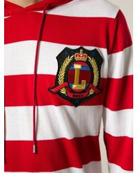 Love Moschino - Red Logo Patch Stripes Hoodie for Men - Lyst