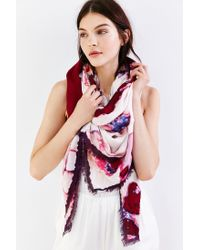 Urban Outfitters | Pink Watercolor Floral Square Scarf | Lyst
