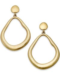 ABS By Allen Schwartz | Metallic Gold-tone Brushed Gypsy Drop Earrings | Lyst