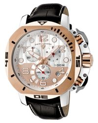 Swiss Legend | Scubador Chrono Black Genuine Leather Silver-tone And Rose-tone Dial for Men | Lyst