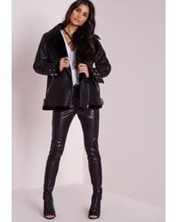 Missguided - Faux Shearling Pilot Jacket Black - Lyst
