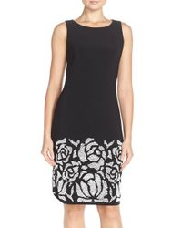 Chetta B | Black Embellished Jersey Sheath Dress | Lyst