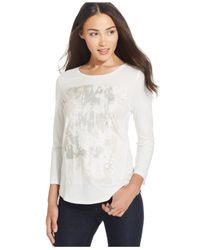 Calvin Klein Jeans | White Graphic Three-quarter-sleeve T-shirt | Lyst