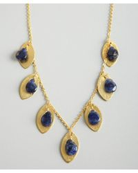 Wendy Mink - Gold and Blue Soldaite Bead Leaf Necklace - Lyst