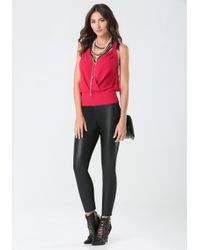 Bebe | Red Banded Surplice Top | Lyst