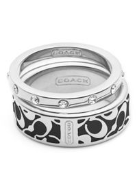 COACH - Black Enamel Signature Ring Set - Lyst