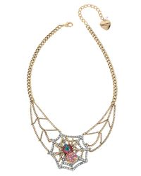 Betsey Johnson | Metallic Spiderweb Frontal Necklace | Lyst