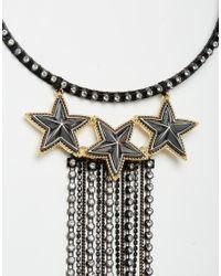 ASOS - Metallic Statement Chain Fringe Torque Necklace - Black - Lyst