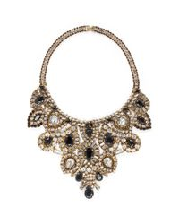 Aerin | Metallic X Erickson Beamon Crystal And Jet Black Stone Bib Necklace | Lyst