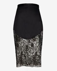 Lover - Black Lotus Lace Hem Pencil Skirt - Lyst