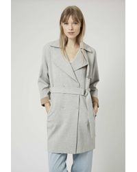 TOPSHOP | Gray Soft Belted Trench Coat | Lyst