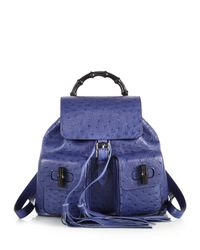 Gucci | Blue Bamboo Ostrich Backpack | Lyst