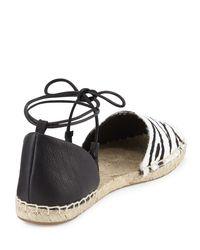 Cynthia Vincent - Black Farie Zebra-print Ankle-wrap Sandal - Lyst