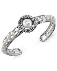 Macy's | Metallic Effy Cultured Freshwater Pearl Bangle Cuff (4mm) In Sterling Silver | Lyst