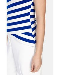 Karen Millen | Blue Fitted Stripe Vest | Lyst