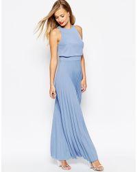 ASOS - Blue Pleated Crop Top Maxi Dress - Lyst
