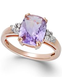 Macy's - Pink Amethyst (2-3/4 Ct. T.w.) And Diamond (1/10 Ct. T.w.) Ring In 14k Rose Gold - Lyst