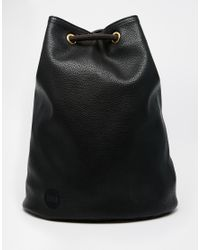 Mi-Pac - Black Drawstring Backpack In Leather Look Fabric - Lyst