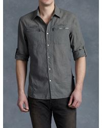 John Varvatos - Gray Cotton Zip Pocket Shirt for Men - Lyst