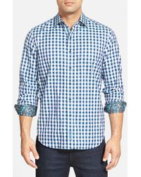 Robert Graham | Blue 'dartmoor' Classic Fit Gingham Sport Shirt for Men | Lyst