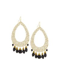 Nakamol | Metallic Cutout Teardrop & Quartz Drop Earrings | Lyst